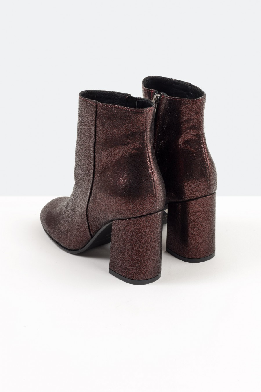 Burgundy leather ankle boots with high heels