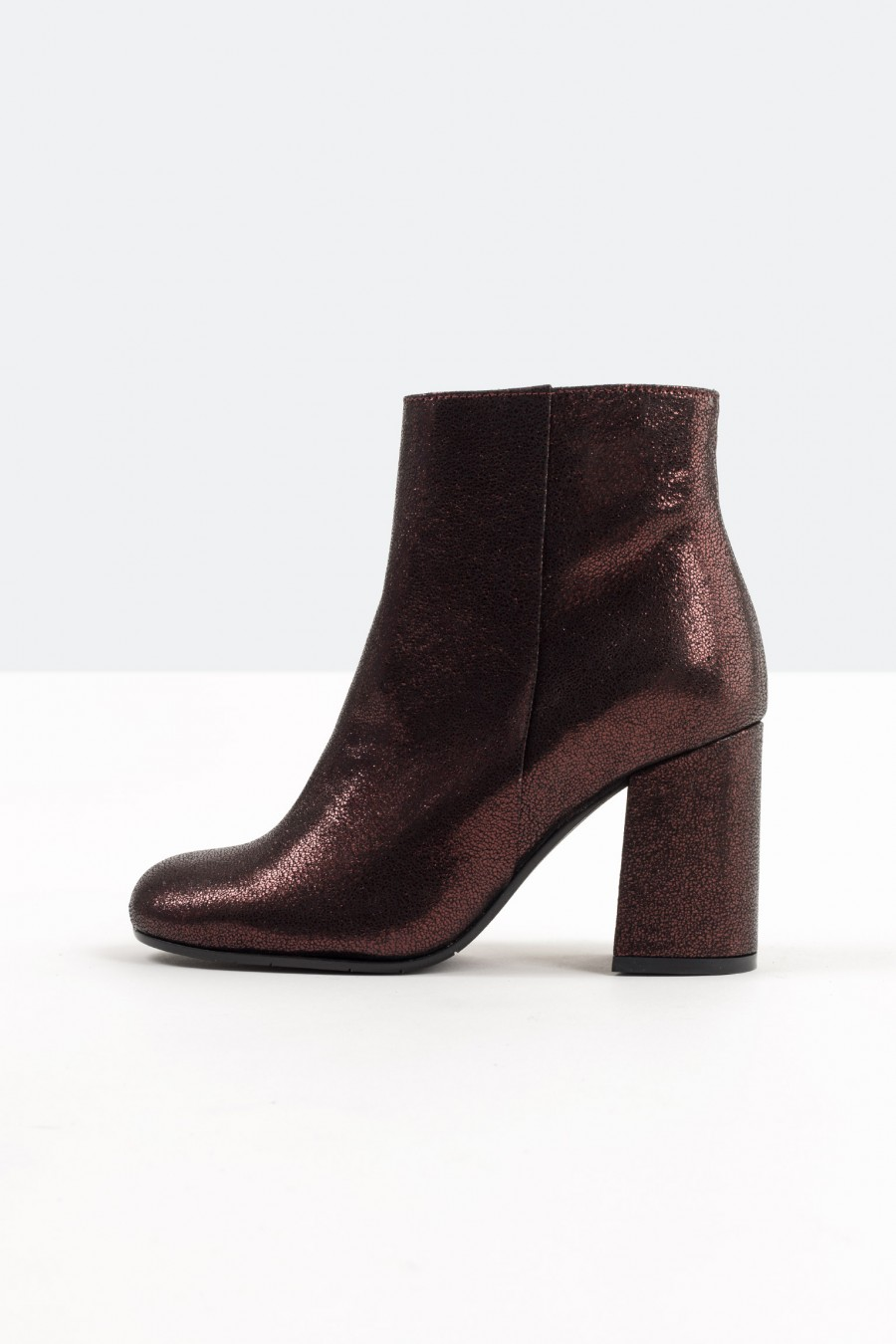 Burgundy leather high heeled ankle boots