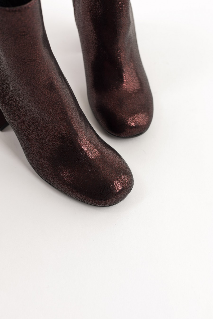 Burgundy rounded toe ankle boots