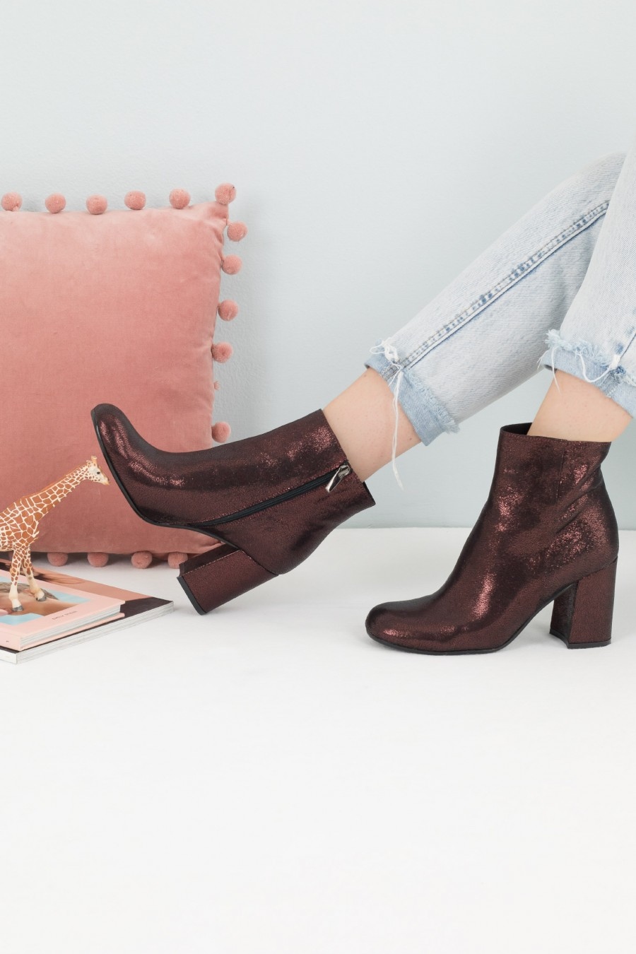 Autumnal burgundy leather ankle boots
