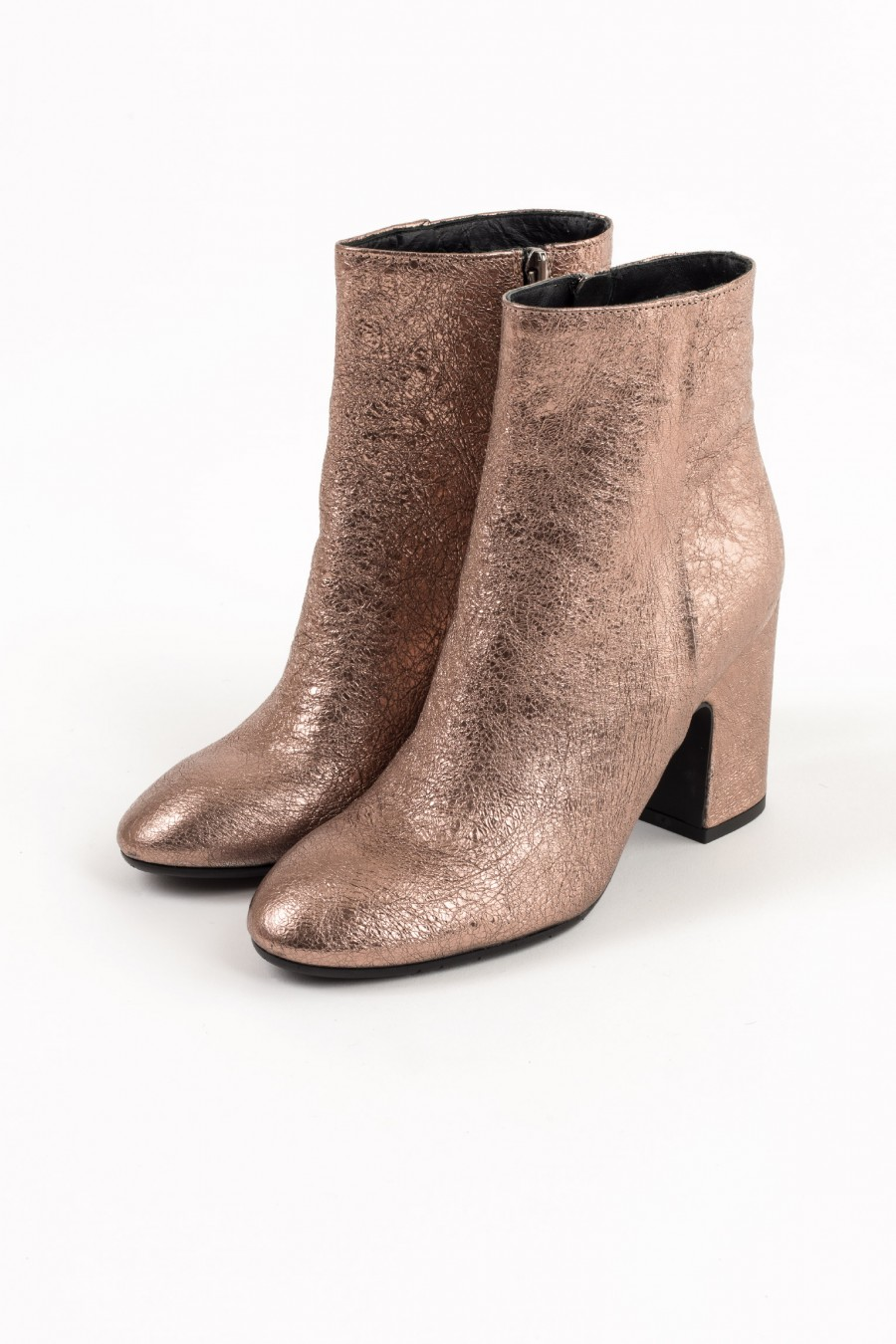 Pink metallic leather ankle boots