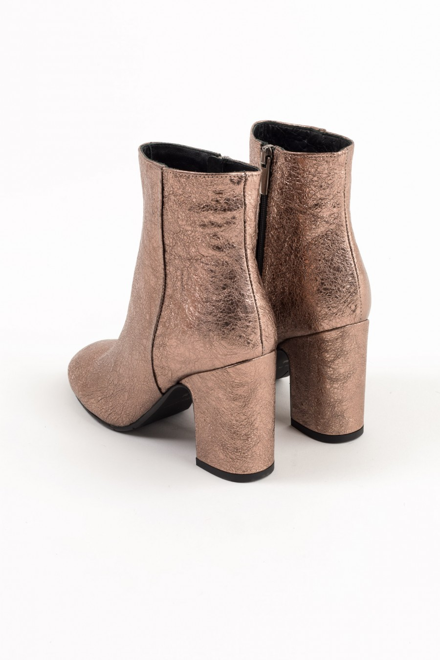 Mid heeled pink metallic leather ankle boots