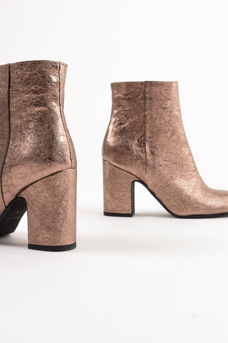 Fancy pink metallic leather ankle boots