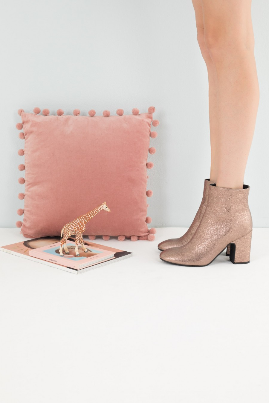 Autumnal metalilc ankle boots