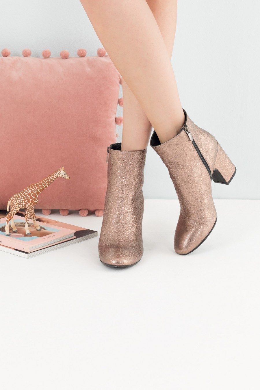Metallic pink leather ankle boots
