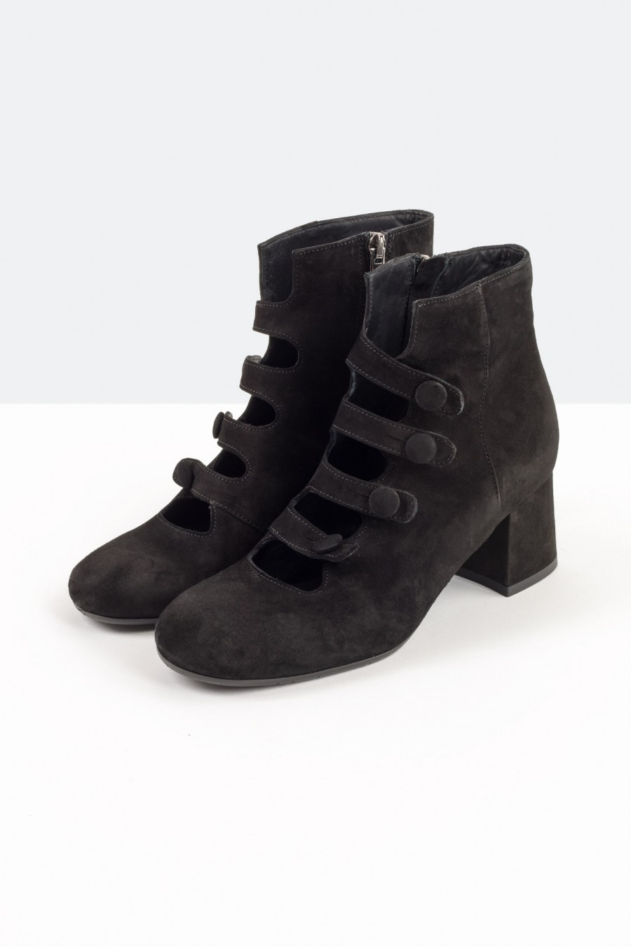 Black ankle boots with straps
