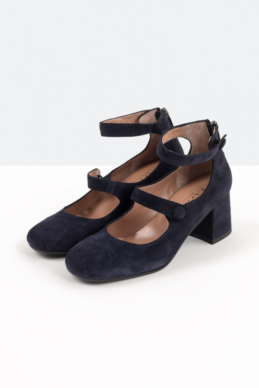 Navy blue suede Mary Jane shoes