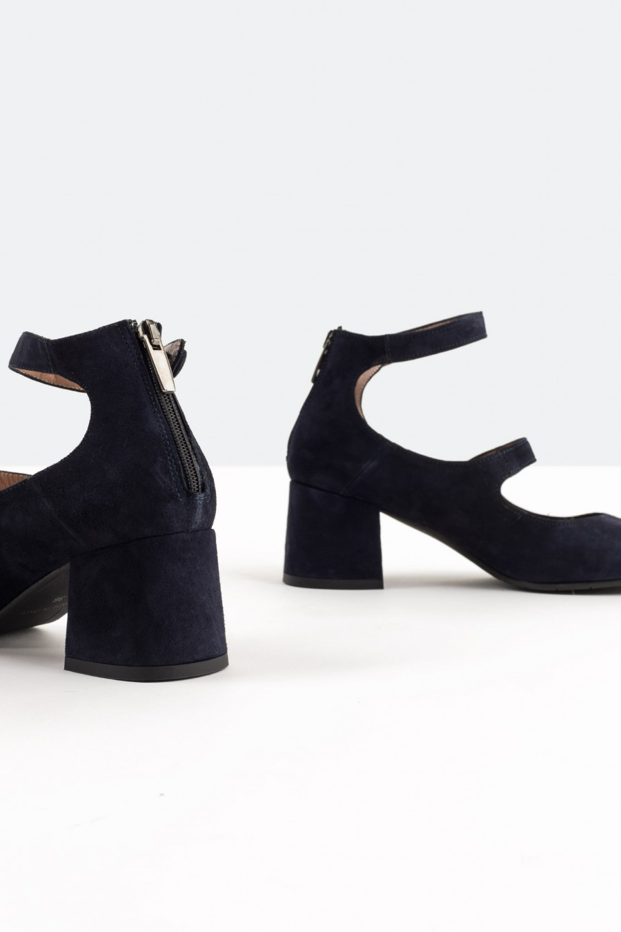 Lazzari navy suede Mary Jane shoes