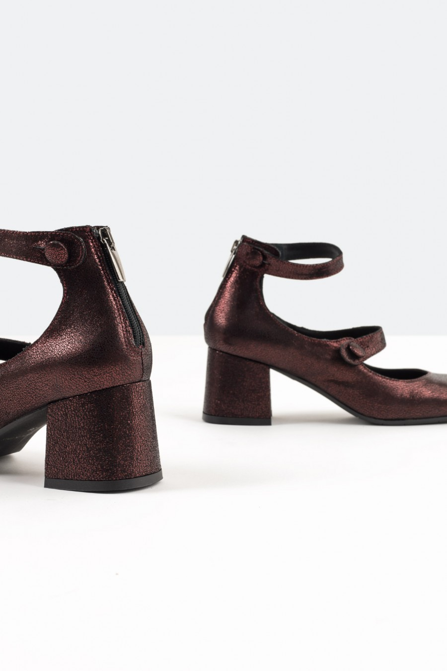 Lazzari metallic burgundy leather Mary Jane shoes