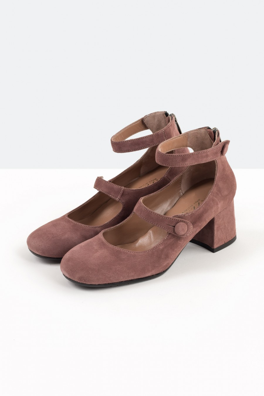 Mallow pink suede Mary Jane shoes