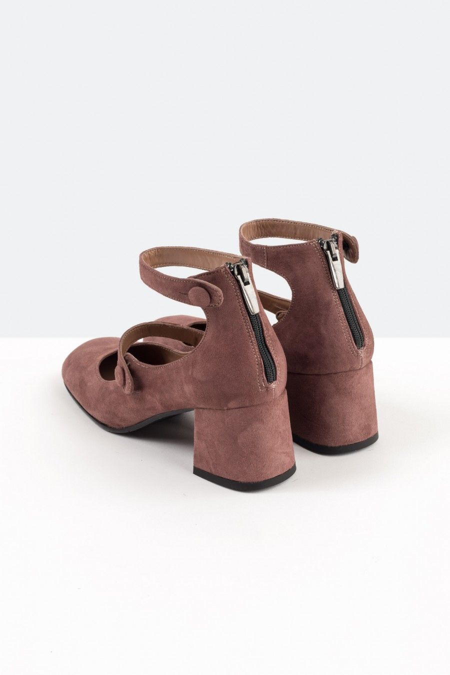 Pink suede Mary Jane shoes with ankle straps