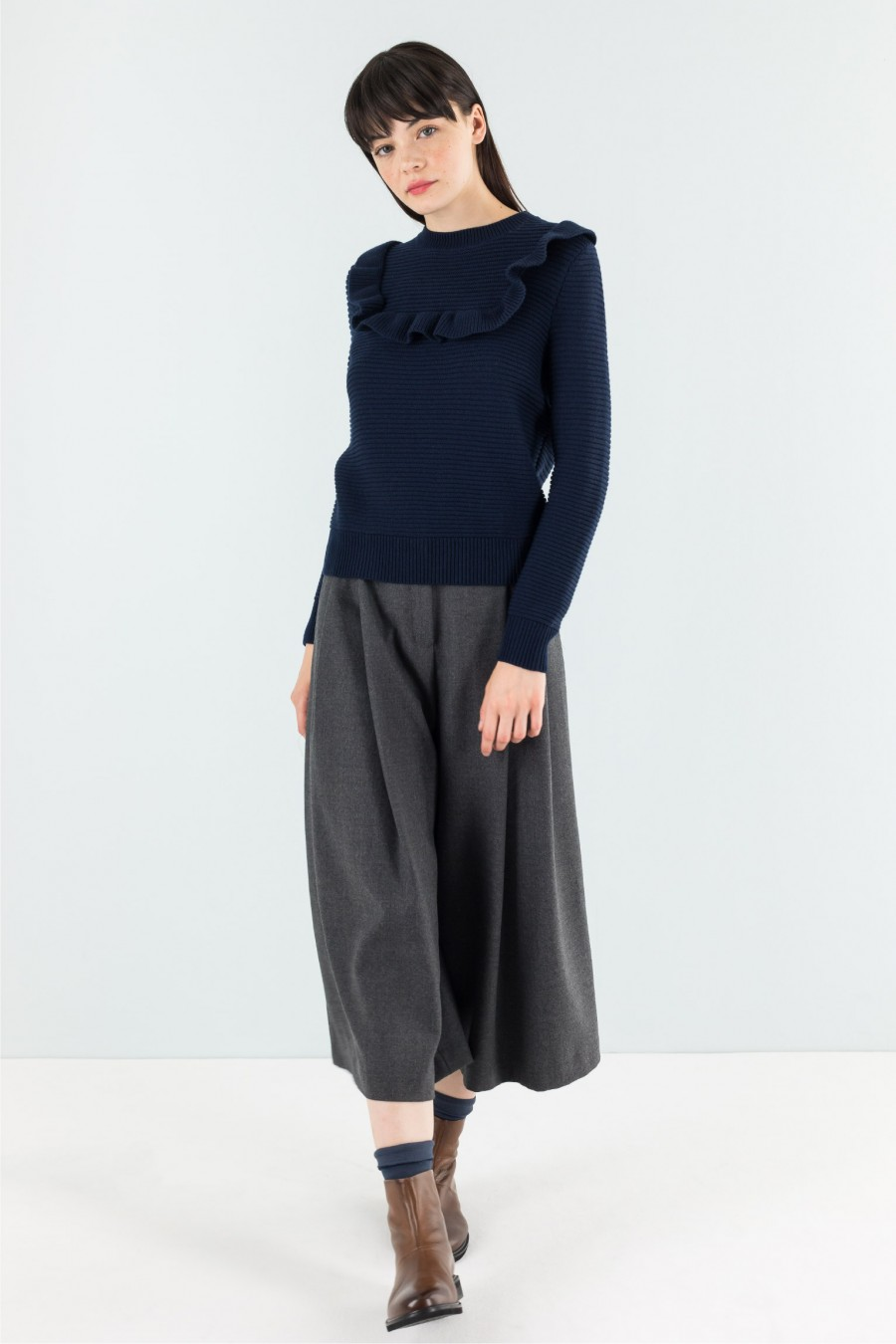 Blue pullover with ruches
