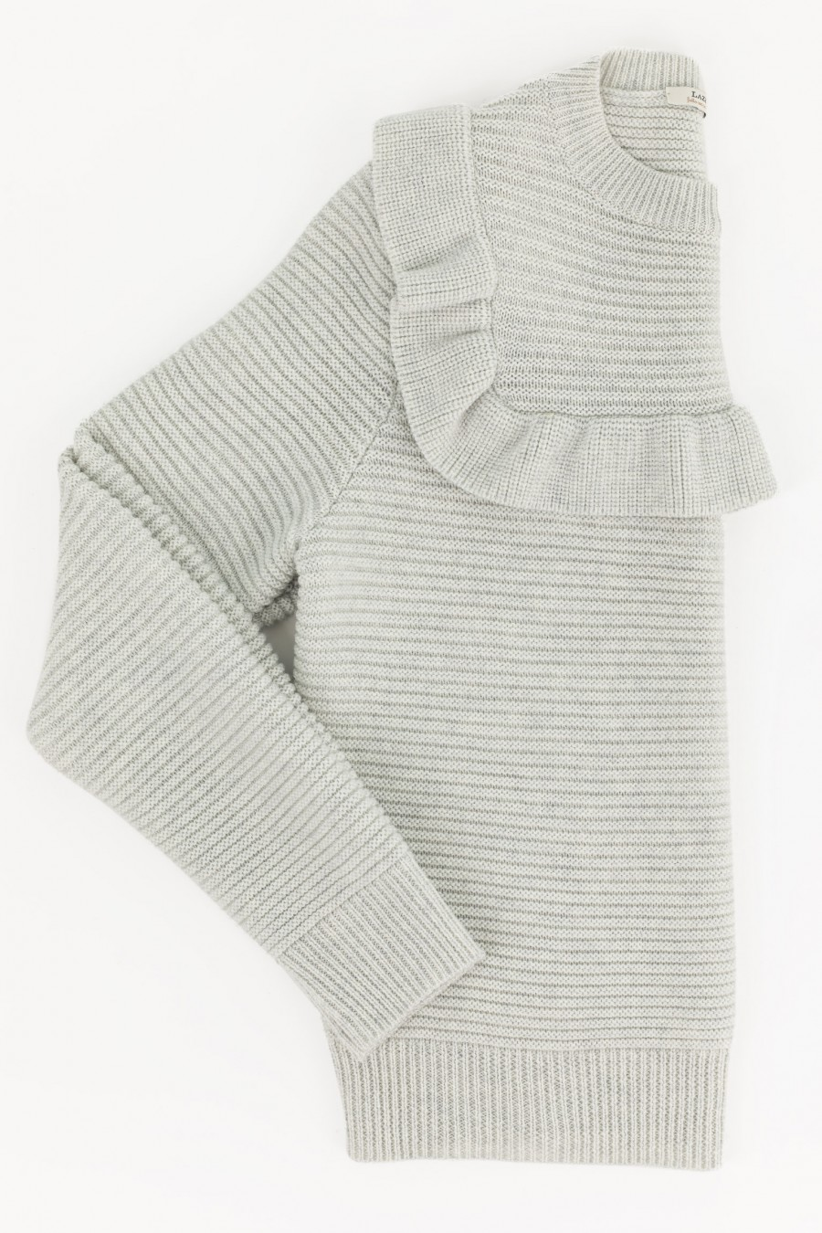 Light grey pullover with ruches