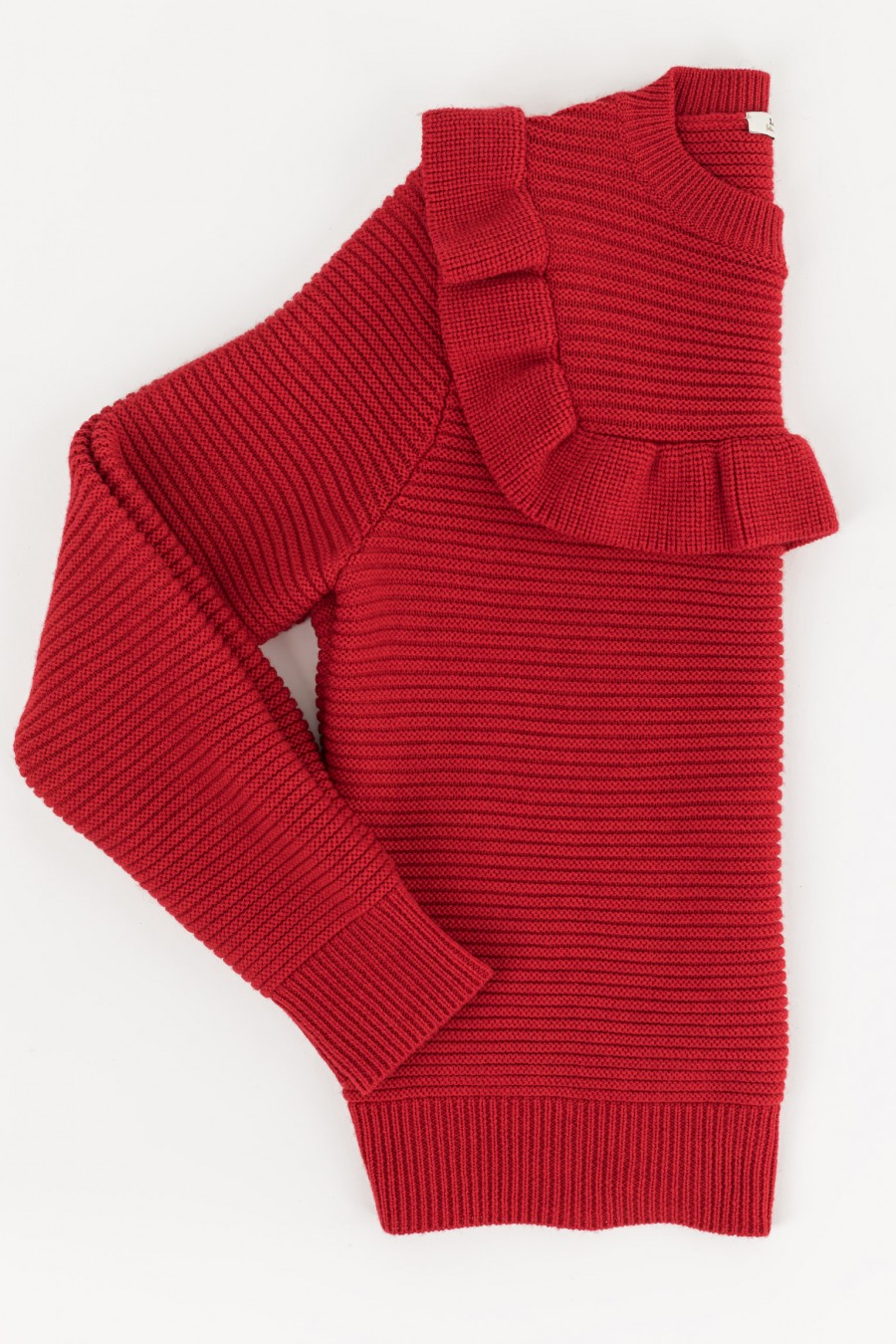 Red pullover with ruches