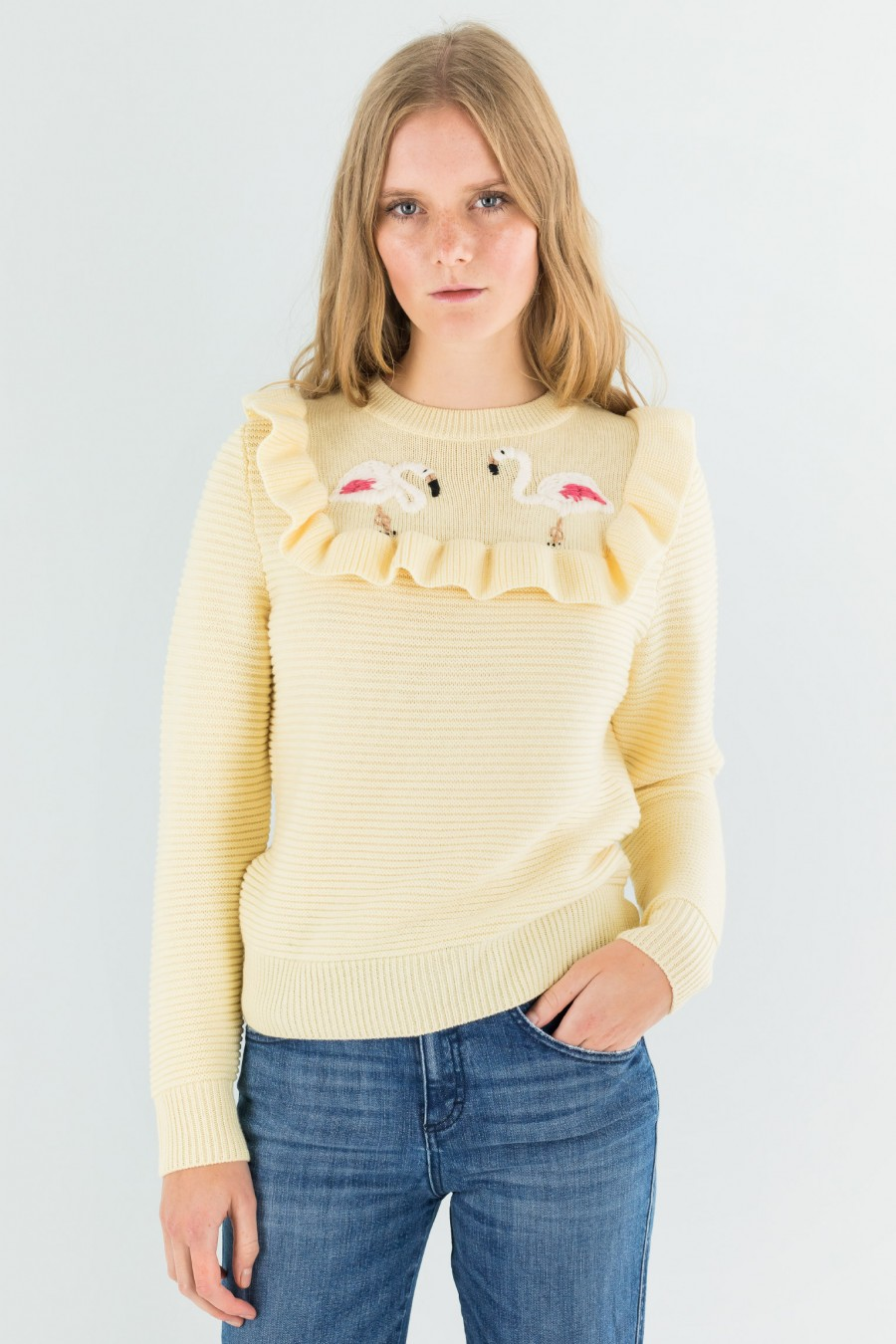 Pullover with flamingos