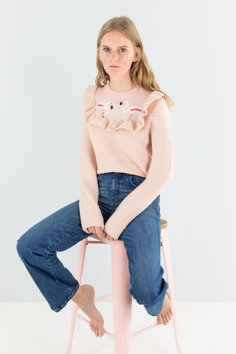 Pullover with embroidered flamingos