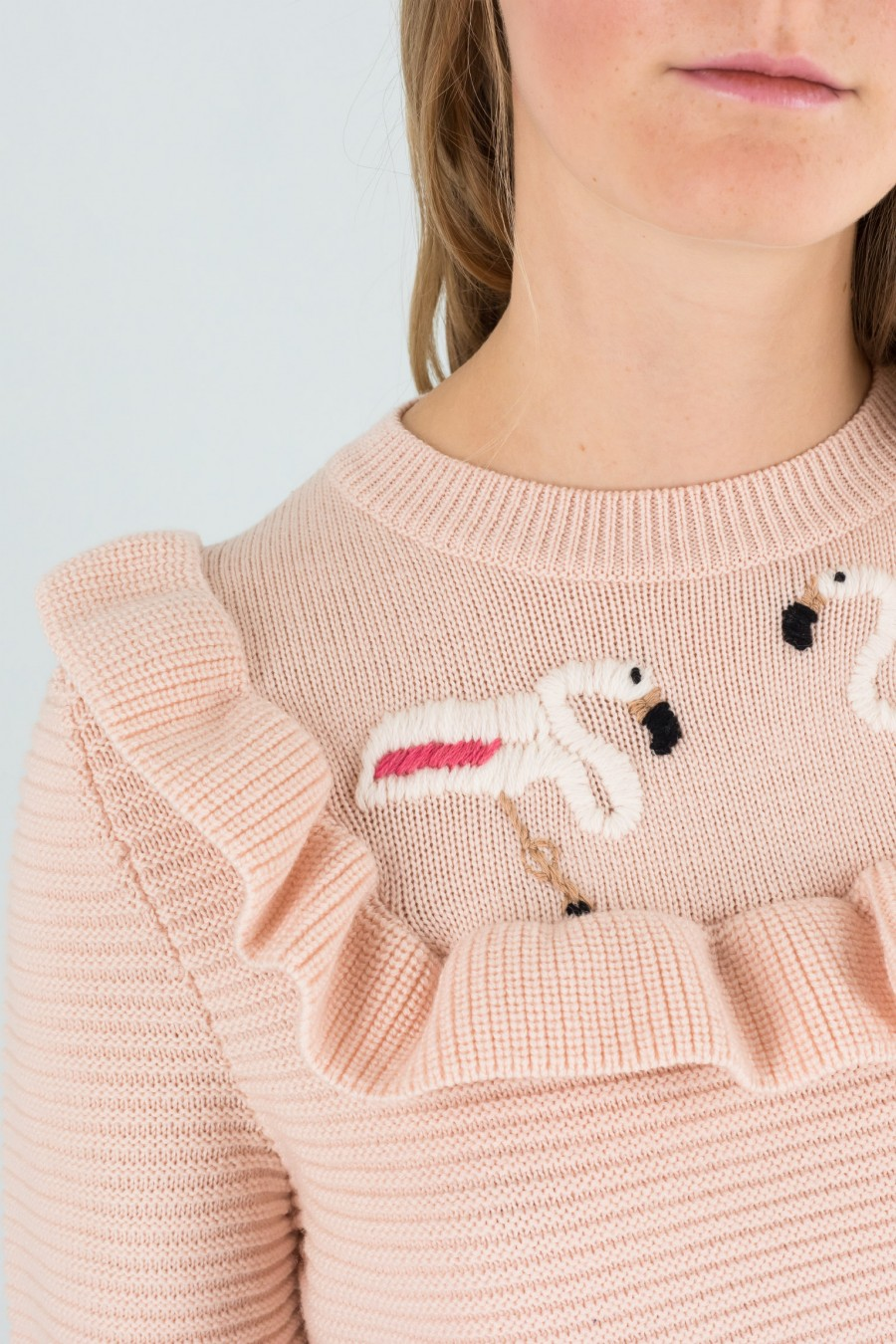 Wool pullover with flamingos