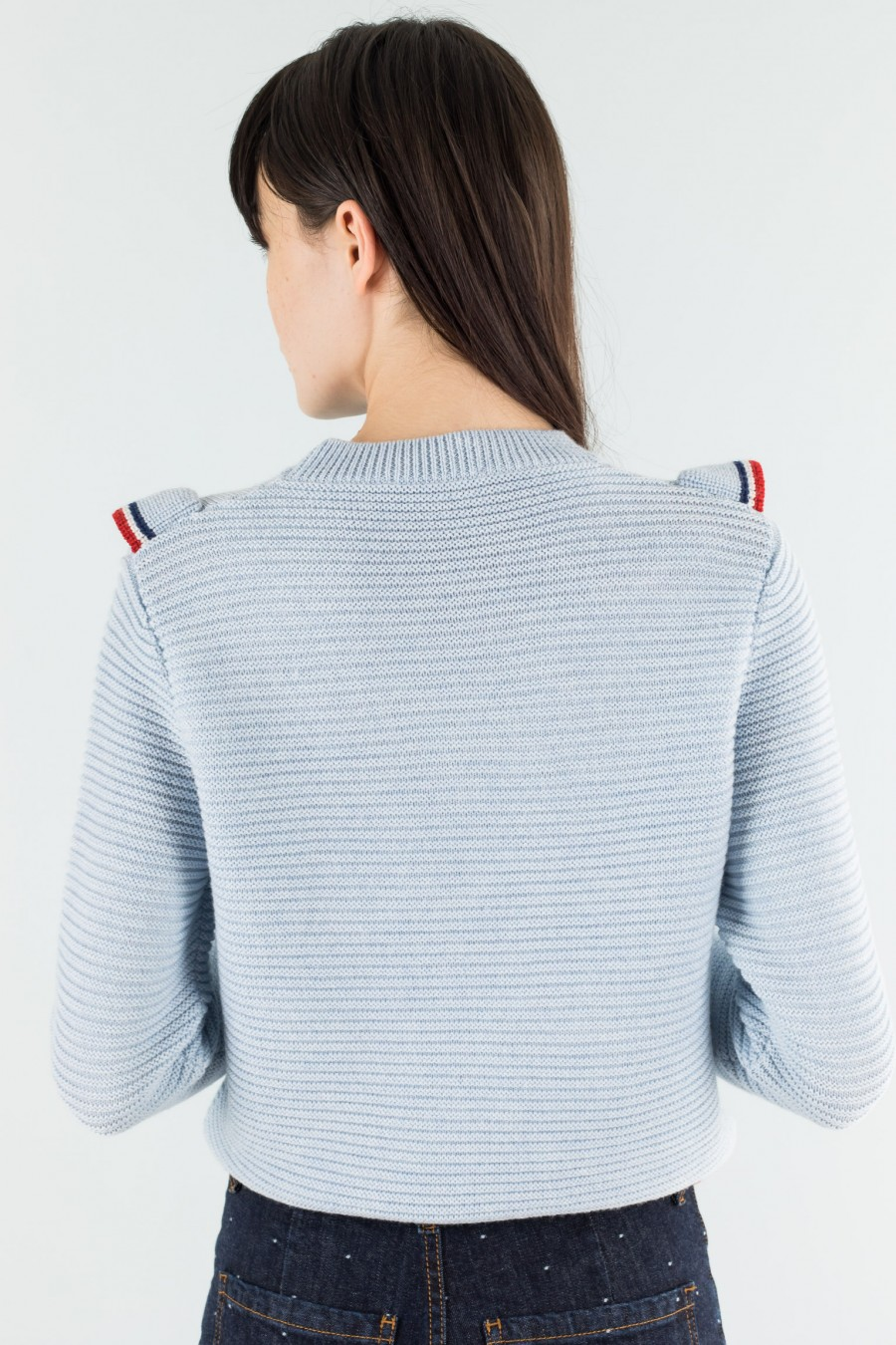 Powder blue pullover with volant