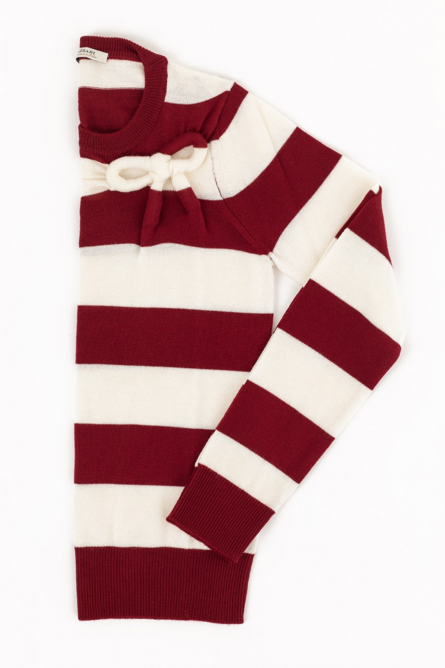 red and white stripy woolen sweater
