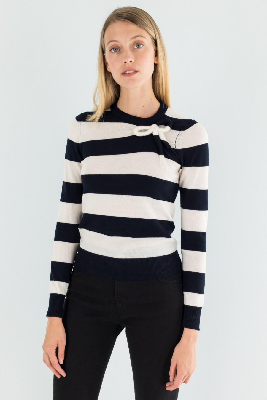 Stripy sweater with bow detail