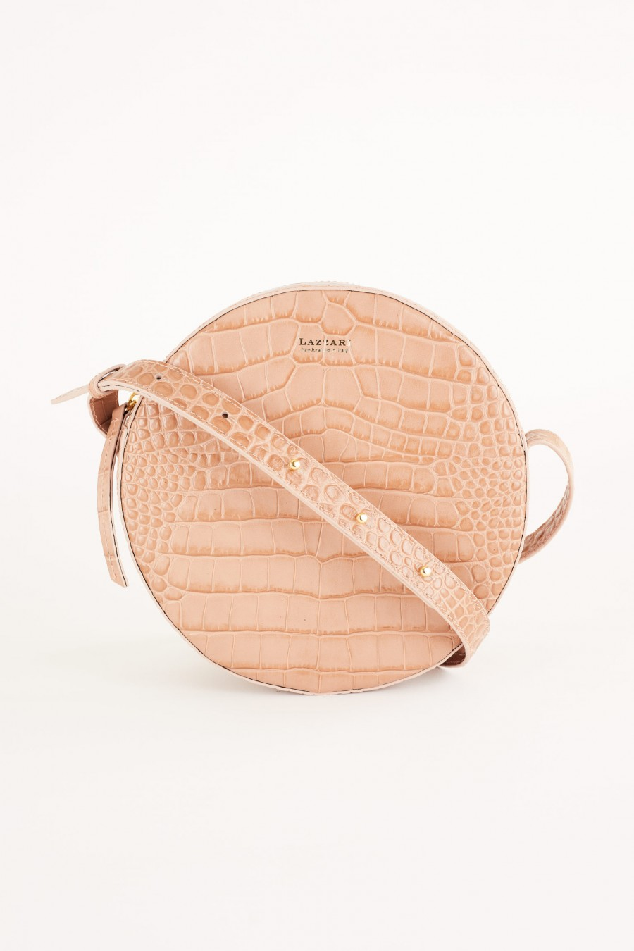 Crocodile effect round bag with shoulder strap