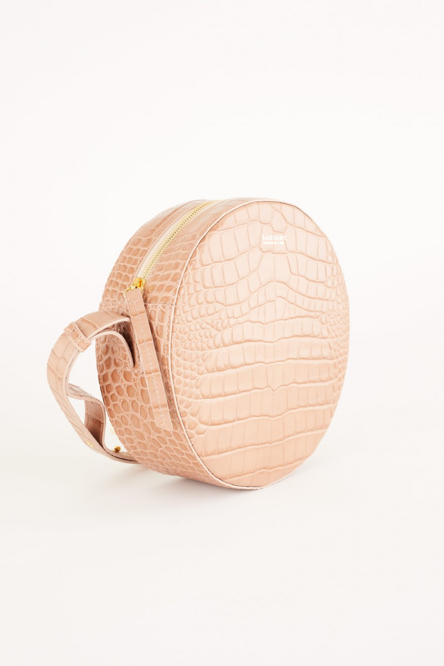 pink crocodile effect round bag