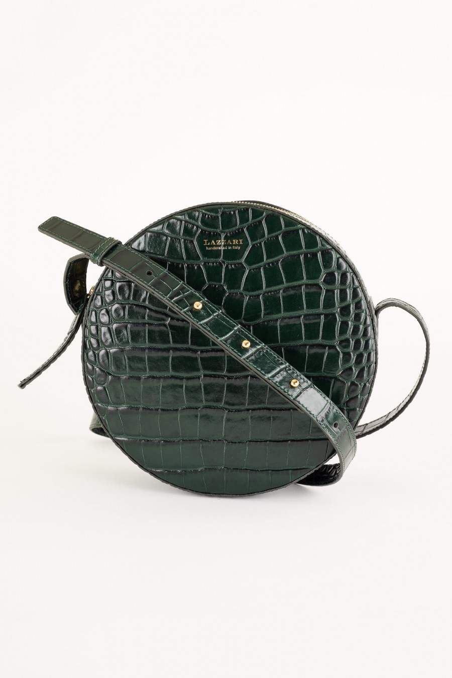dark grey crocodile effect round bag