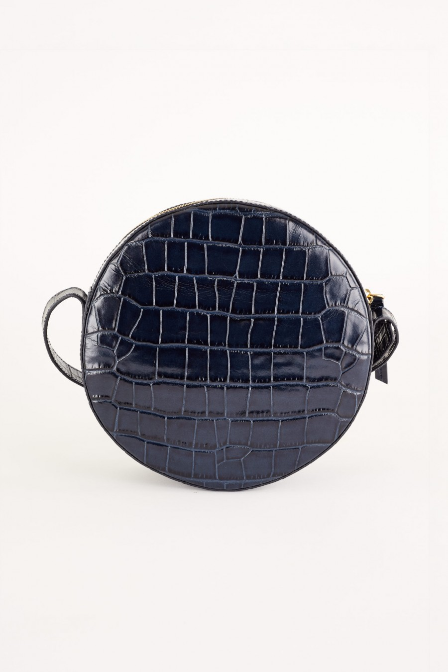 blue crocodile effect round bag