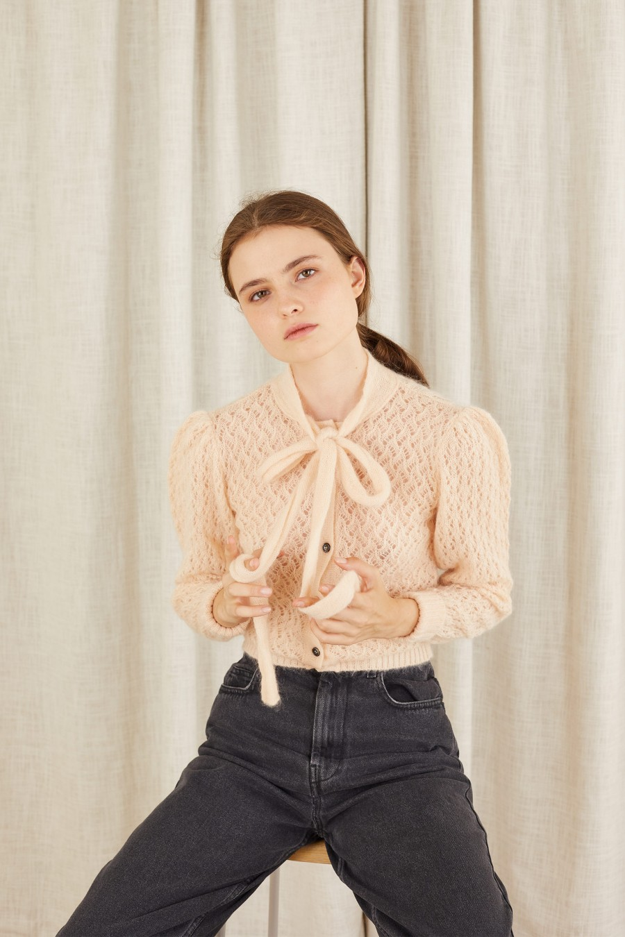 pink cardigan with bow