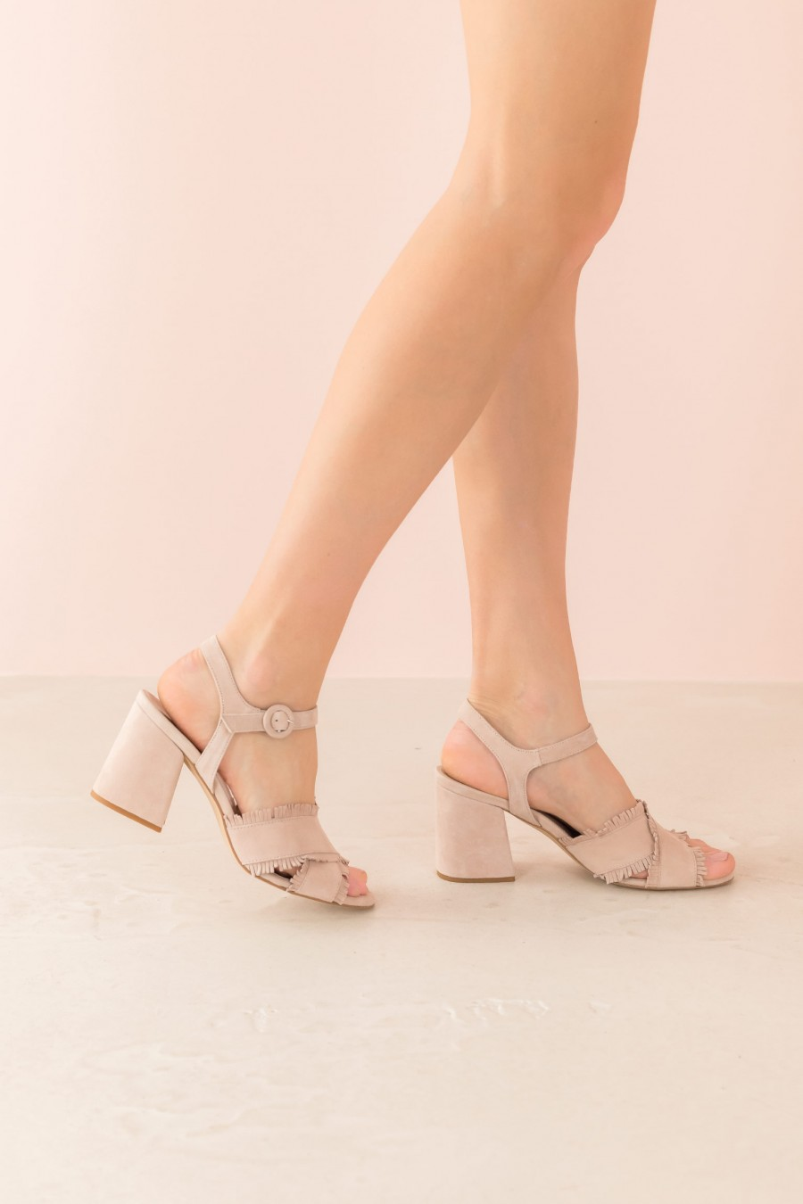 powder sandal with heel