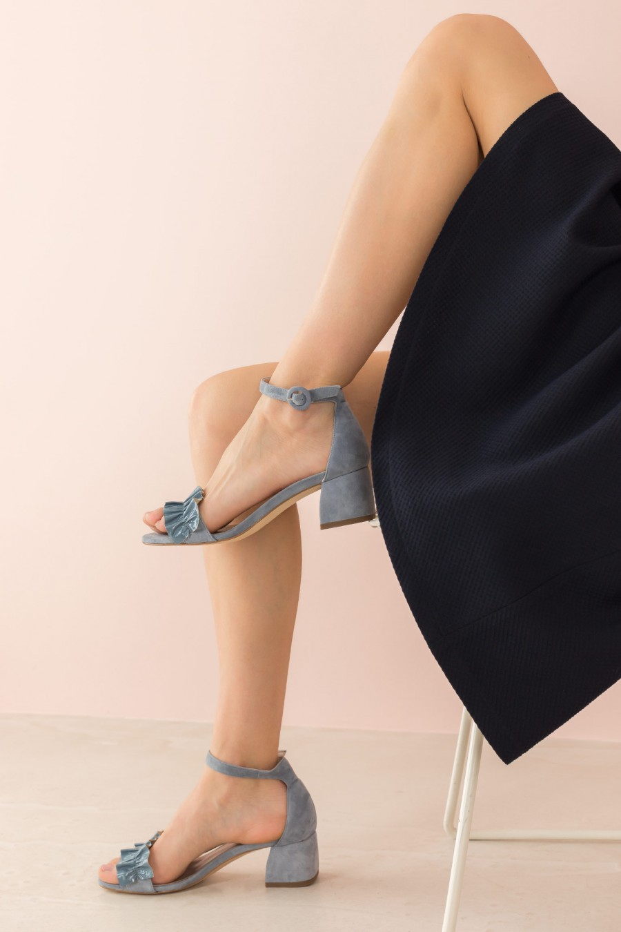 light blue sandal with ruffle on the strap