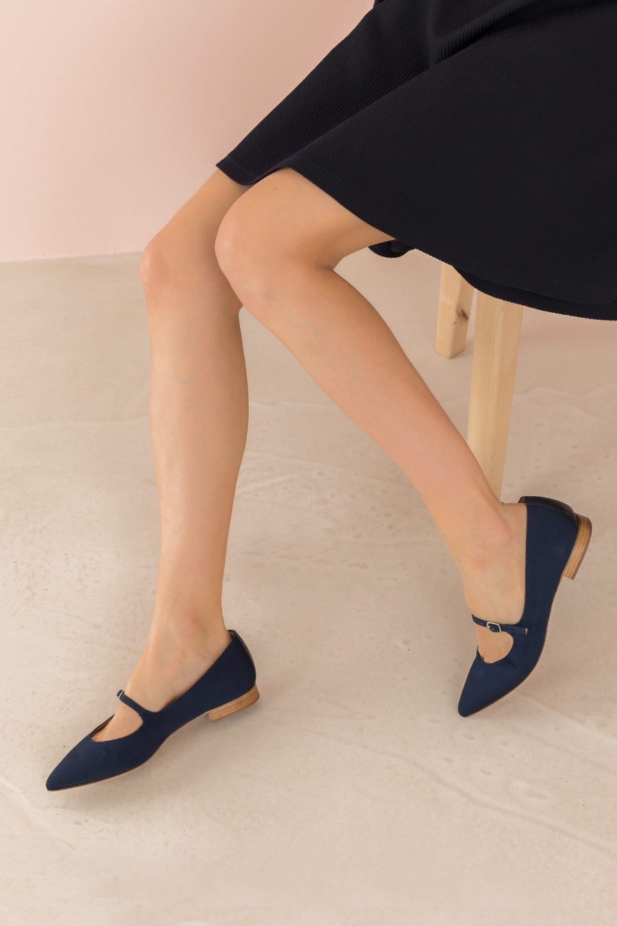 pointed blue ballerina with buckle