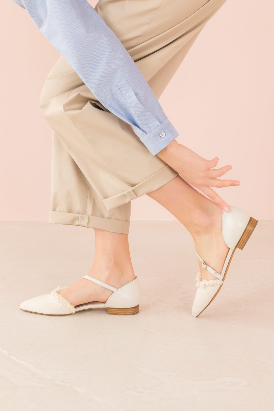 white shoes with diagonal buckle