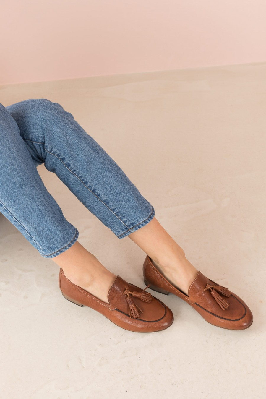 brick colored loafer with tassels