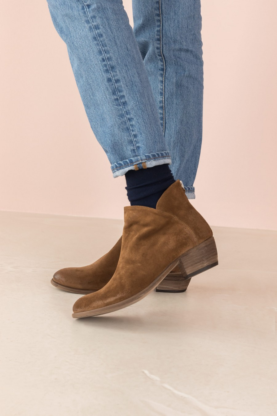 brown ankle boots with heel