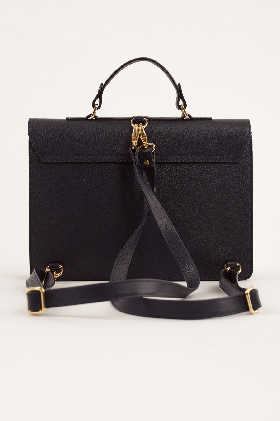 leather satchel Lazzari black