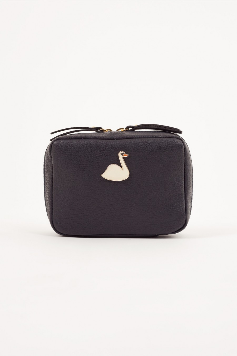 Pochette with enameled swan blue