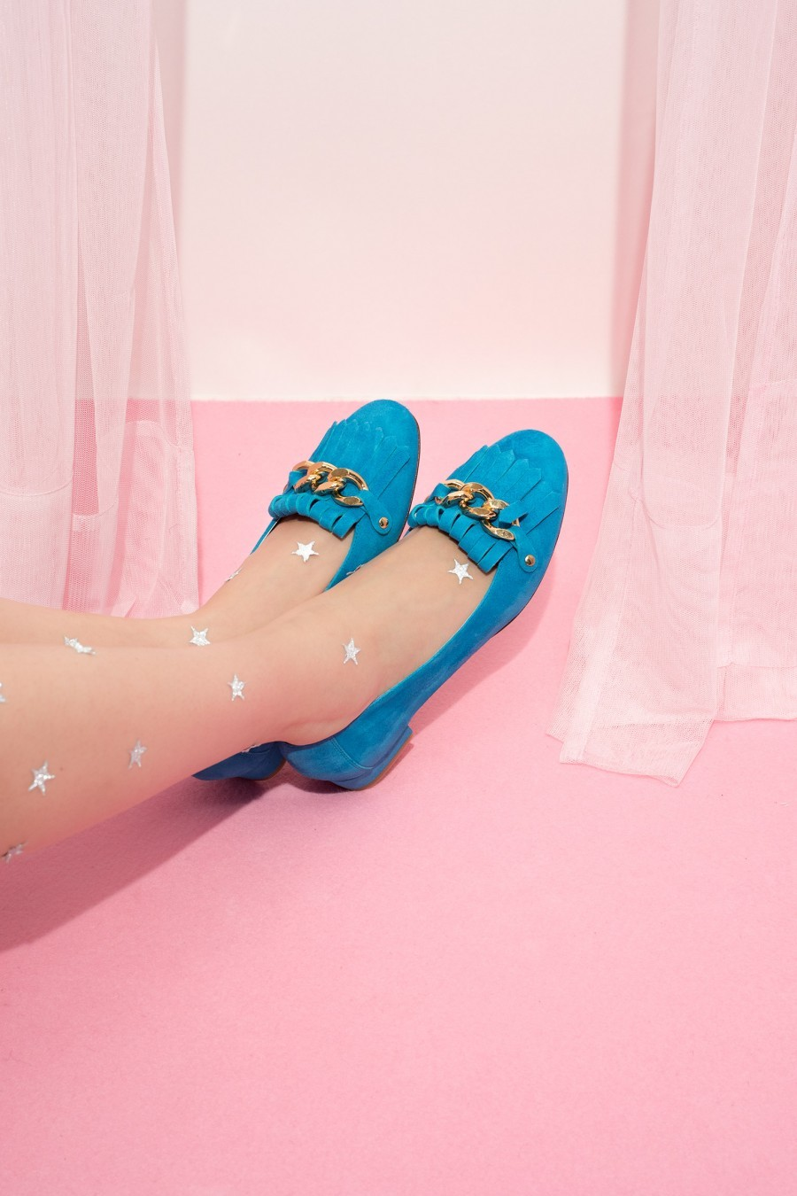 fringed loafer turquoise blue
