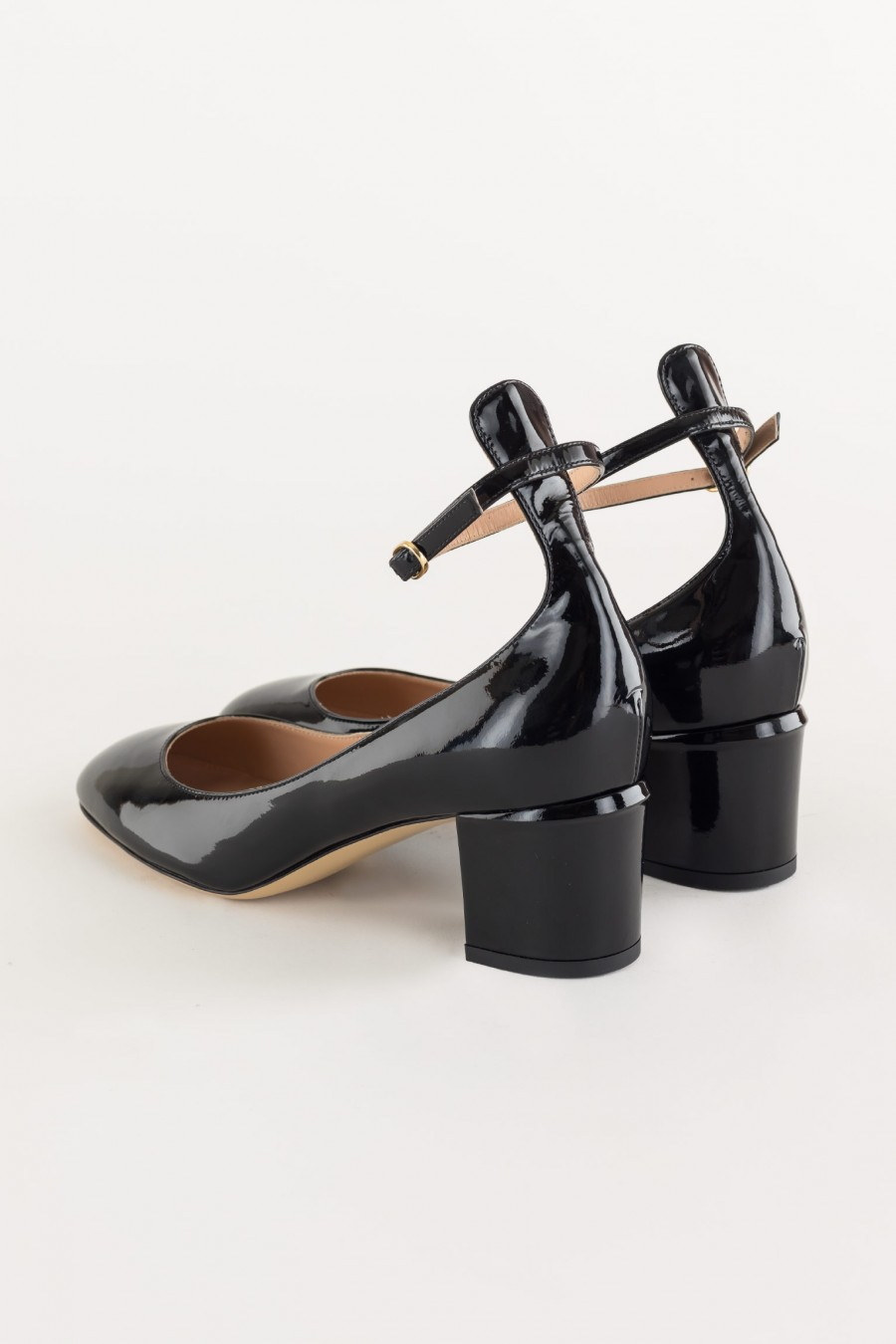 black Mary Jane with ankle strap
